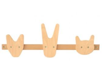 Shelf wooden animal hooks