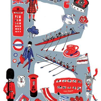 B for British print by Josie Jo