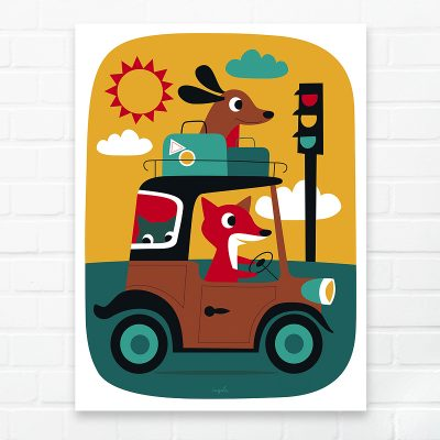 Ingela P Arrhenius Fox & Dog On The Road Print