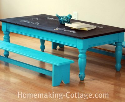 Inspiration: Make a Child's Chalkboard Table with Benches