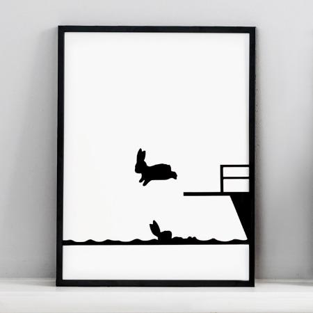 Diving Rabbit Print