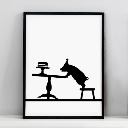 Partying Pig Print