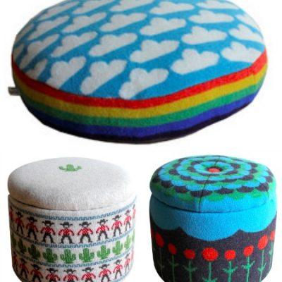 Sally Nencini floor cushions and storage stools