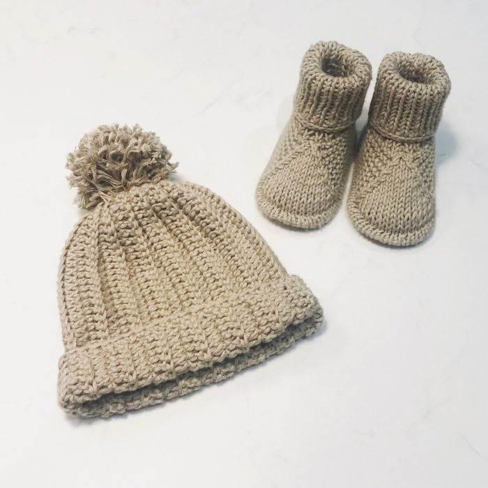 Organic Cotton Knitted Baby Hat & Booties,  £18, Organic Baby Gifts UK