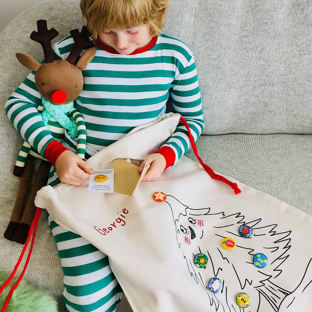 Personalised badge Christmas sack and advent calendar, £45, Auntie Mims