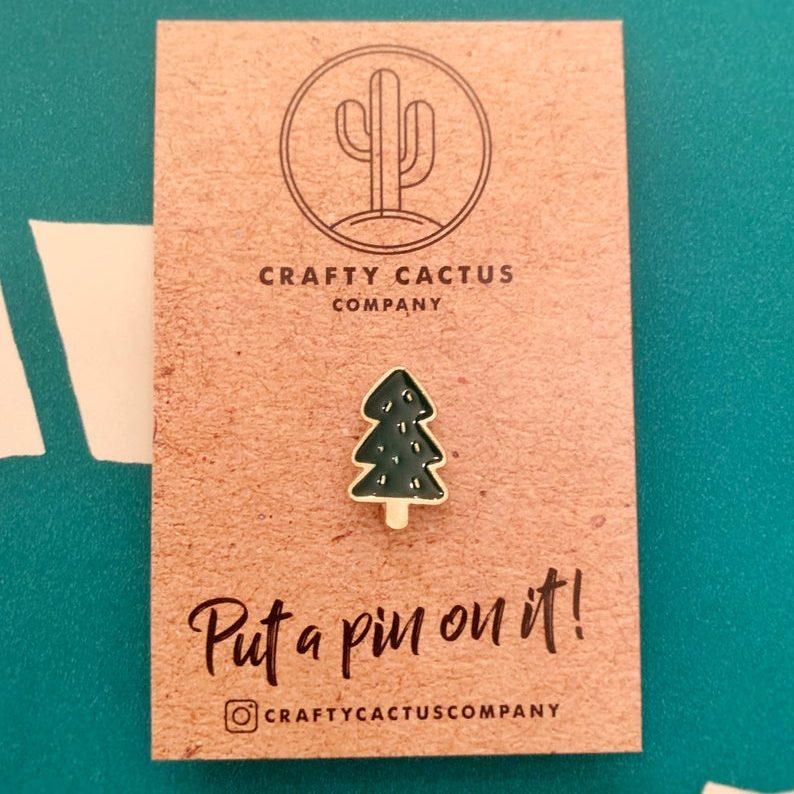 Christmas Tree Enamel Pin Badge, £4, Crafty Cactus Company.