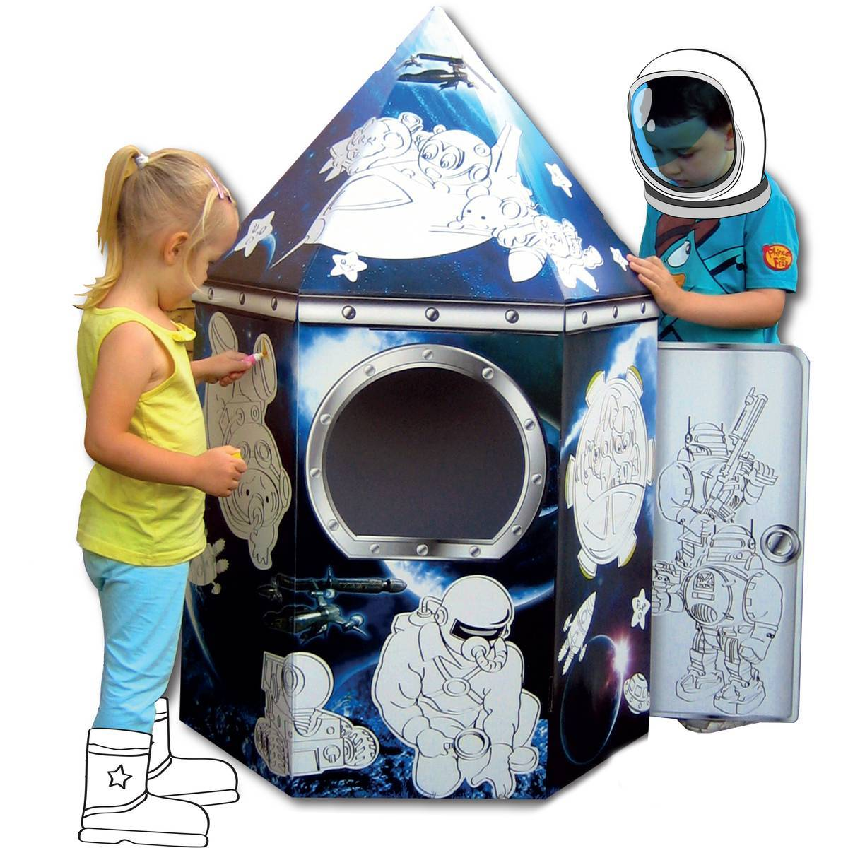 Colour In Cardboard Rocket Playhouse 88cm