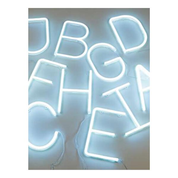 White neon LED letter, £15, Oliver Bonas.
