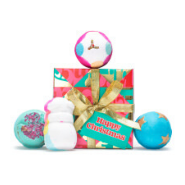 Happy Christmas bath bomb set, £25, Lush.