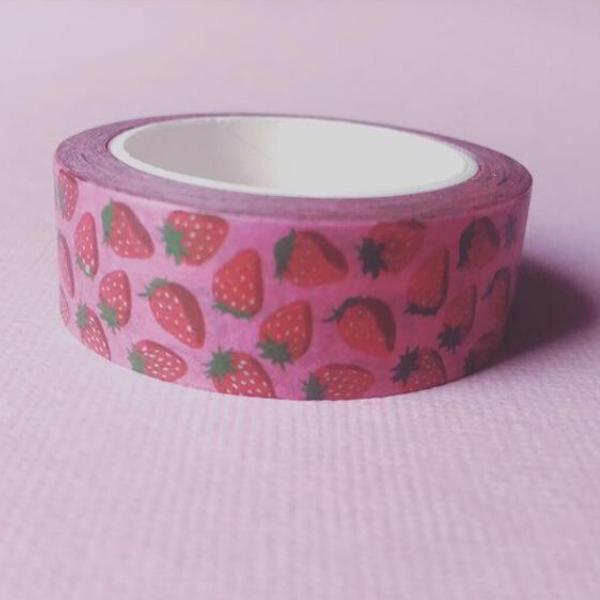 Ruposhi Strawberry washi tape, 50p, Etsy.