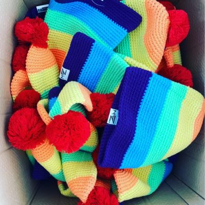 Zaini limited-edition rainbow bobble hat
